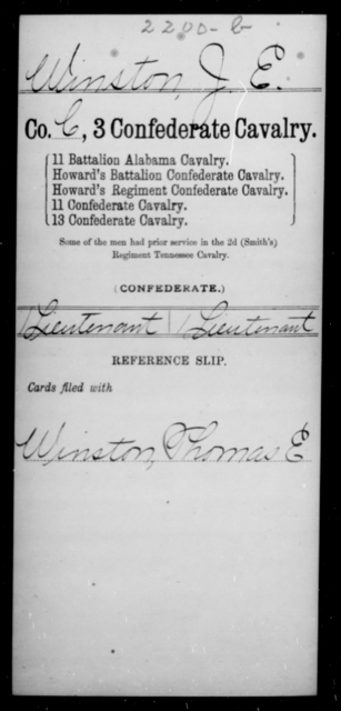 Winston, J E - Age [Blank], Year: [Blank] - Third Confederate Cavalry, T-Y AND Sixth Battalion, Confederate Cavalry - Raised Directly by the Confederate Government