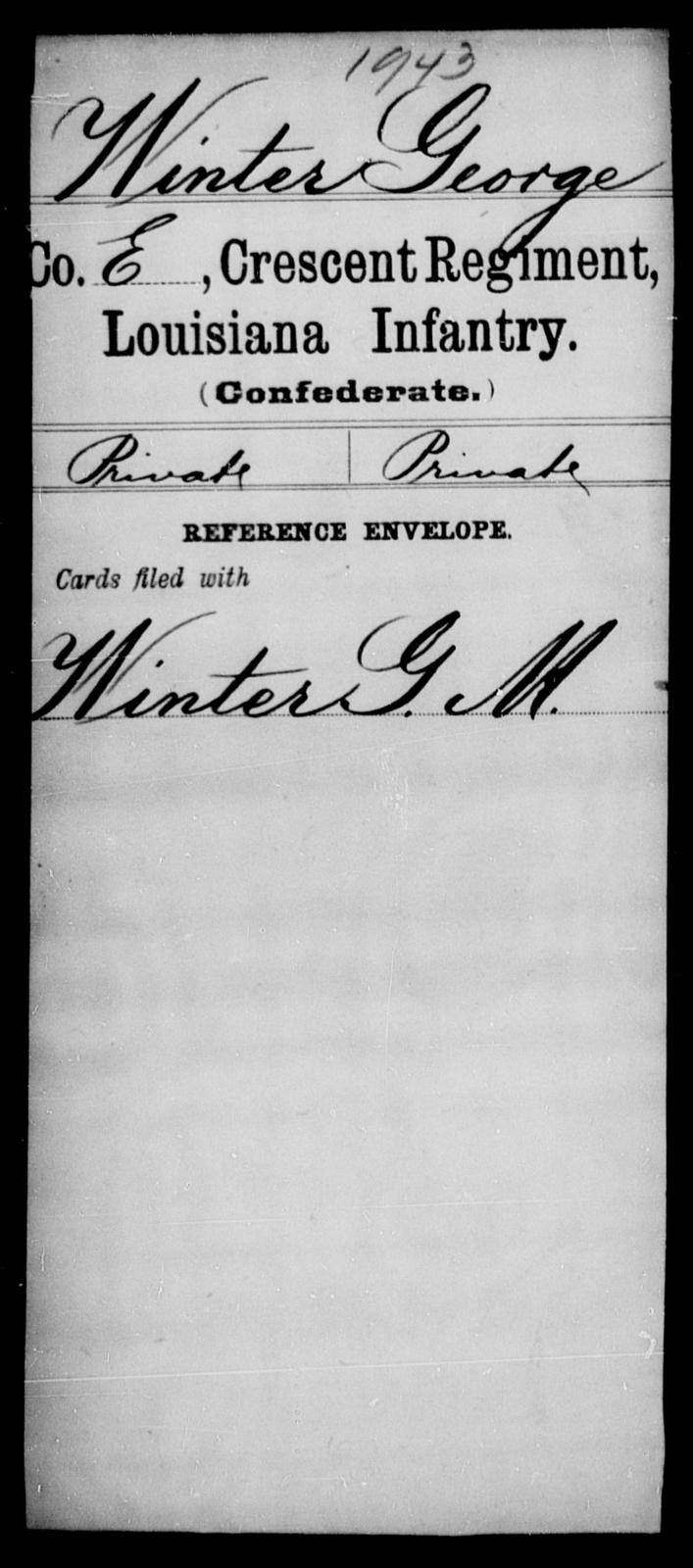 Winter, George - Age [Blank], Year: [Blank] - Crescent Regiment, Infantry, T - Z - Louisiana