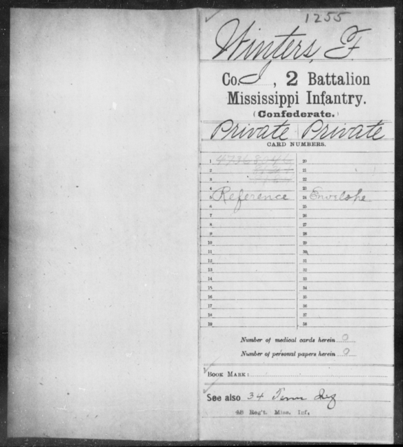 Winters, F - Age: [Blank], Year: [BLANK] - Mississippi Second Battalion, Infantry, R-Z AND Second (Davidson's) Infantry (Army of 10,000), A-O