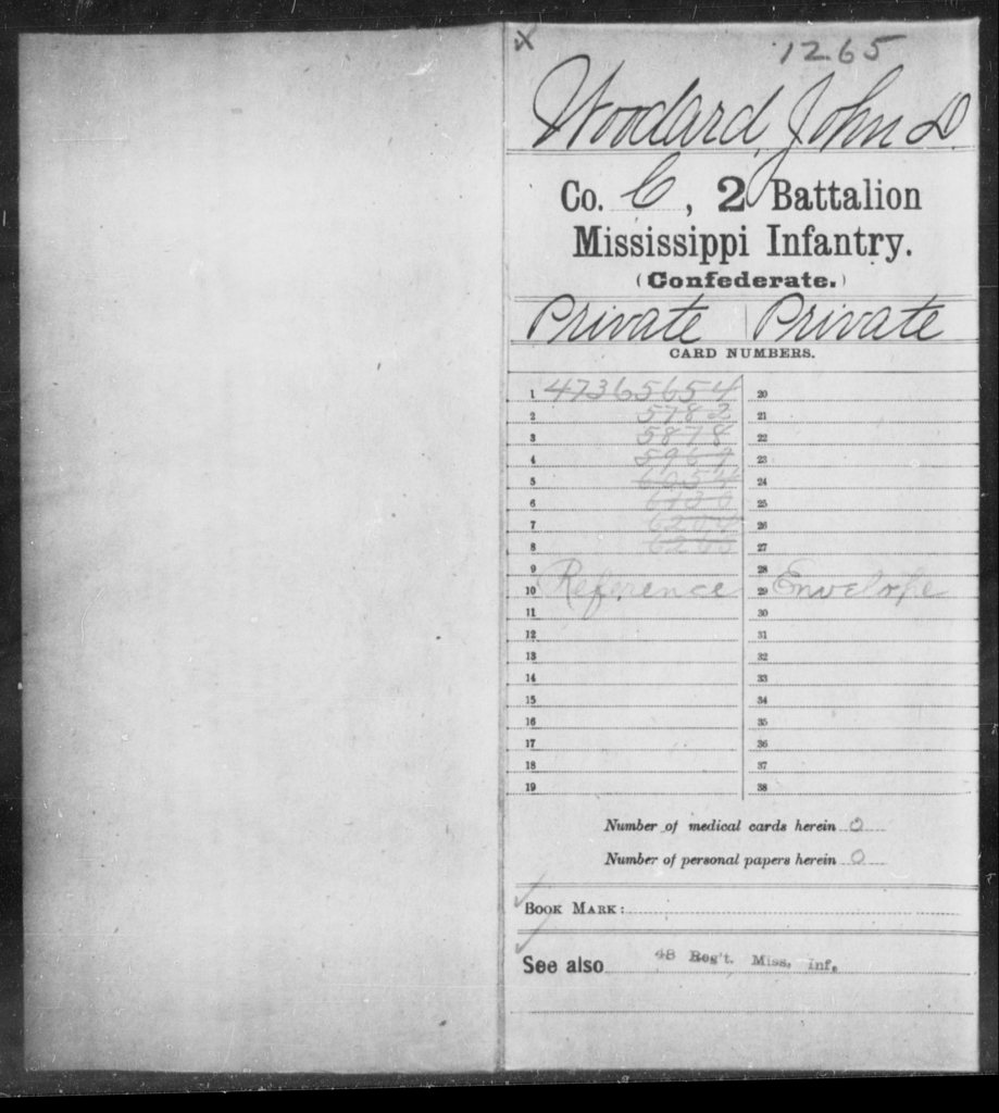 Woodard, John D - Age: [Blank], Year: [BLANK] - Mississippi Second Battalion, Infantry, R-Z AND Second (Davidson's) Infantry (Army of 10,000), A-O