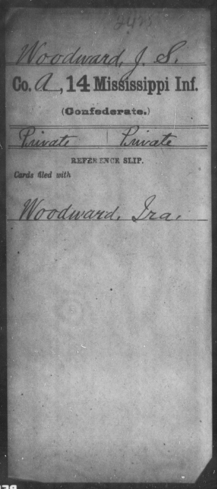 Woodward, J S - Age: [Blank], Year: [BLANK] - Mississippi Fourteenth Infantry, Wi-Z AND Fourteenth (Consolidated) Infantry