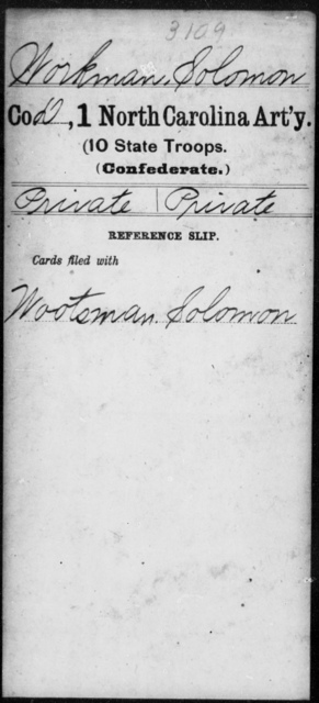 Workman, Solomon - First Artillery (10th State Troops)