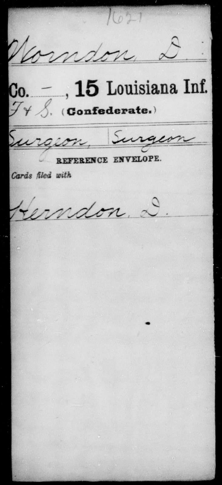 Worndon, D - Age [Blank], Year: [Blank] - Fifteenth Infantry, So - Z AND Fifteenth (Weatherly's) Battalion, Sharp Shooters - Louisiana