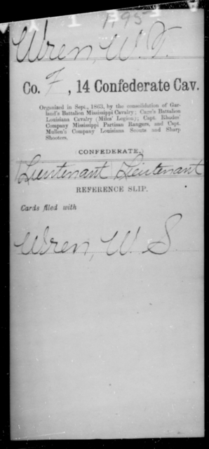 Wren, W T - Age [Blank], Year: [Blank] - Fourteenth Confederate Cavalry, L-Z - Raised Directly by the Confederate Government