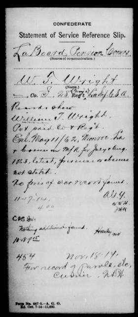 Wright, W T - Age [Blank], Year: [Blank] - Twenty-eighth (Gray's) Infantry, W - Z AND Twenty-eighth (Thomas') Infantry, A - B - Louisiana