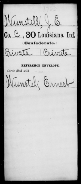 Wunstell, J E - Age [Blank], Year: [Blank] - Thirtieth Infantry, Sc - Z - Louisiana