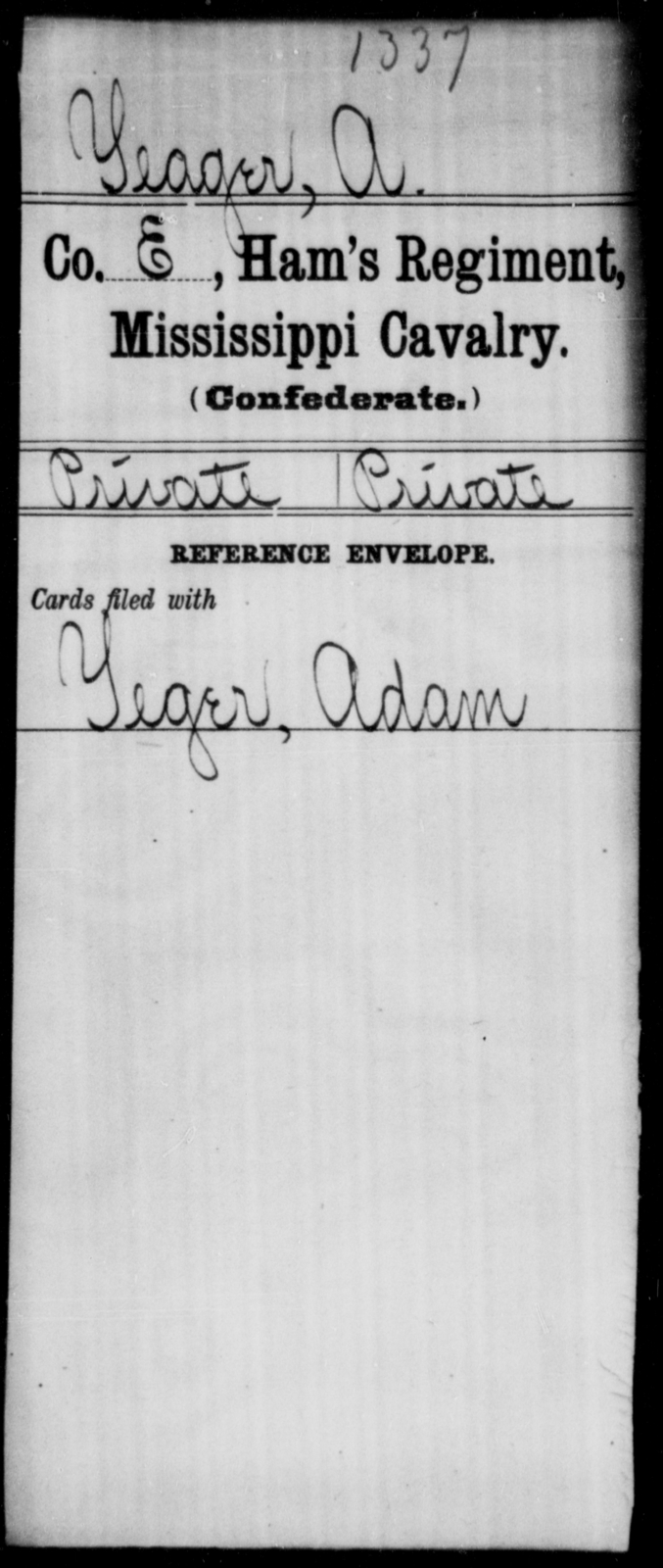 Yeager, A - Age: [Blank], Year: [BLANK] - Mississippi Ham's Regiment, Cavalry, T-Y AND Hughes' Battalion, Cavalry