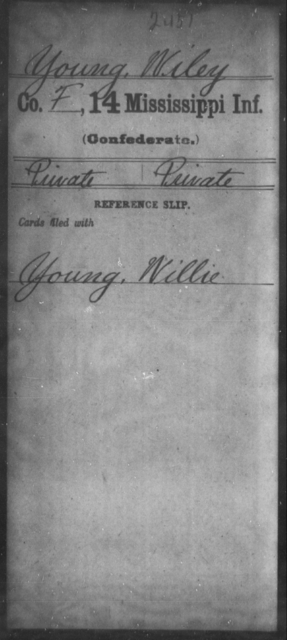 Young, Wiley - Age: [Blank], Year: [BLANK] - Mississippi Fourteenth Infantry, Wi-Z AND Fourteenth (Consolidated) Infantry