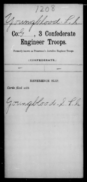Youngblood, L C - Age [Blank], Year: [Blank] - Third Confederate Engineer Troops, P-Z - Raised Directly by the Confederate Government