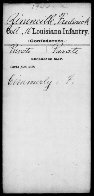 Zimneille, Frederick - Age [Blank], Year: [Blank] - Roll Military Unit, T - Z - Louisiana