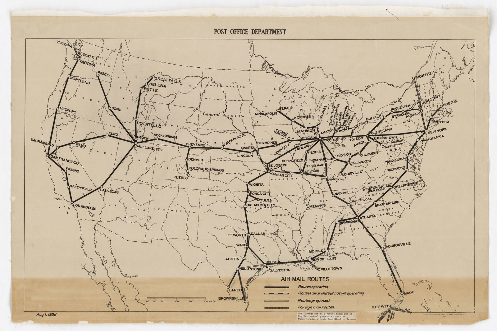 Image of: Post Office Department Map Of Continental U S Air Mail Routes U S National Archives Public Domain Image
