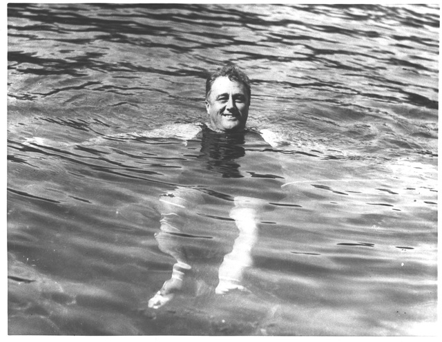 Franklin Delano Roosevelt Swimming in a Pool at Warm Springs, Georgia