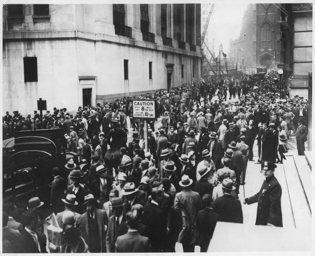 Photograph of Wall Street in Panic Due to Heavy Trading
