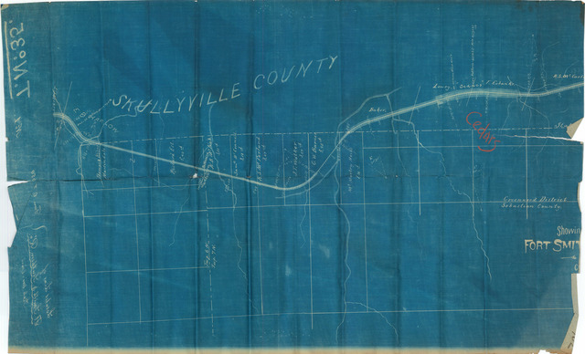Incomplete Map Showing Located Line of the Fort Smith Southern Railway, Through Part of Choctaw Nation, Indian Territory, Skullyville County