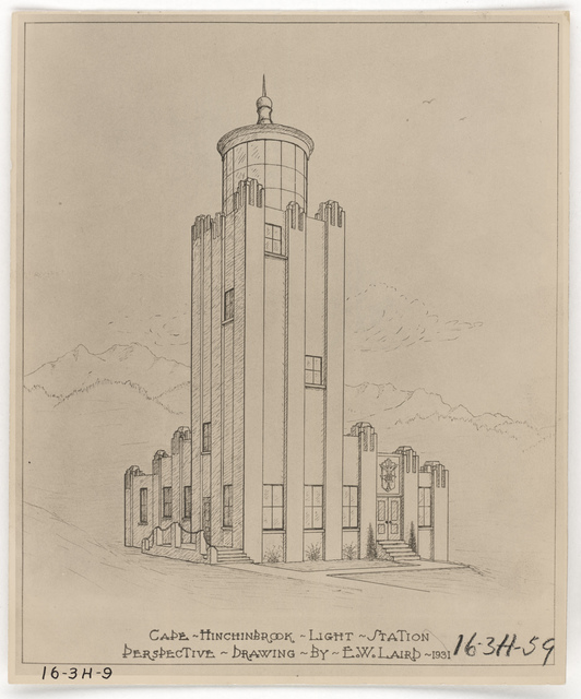 Perspective Drawing of the Lighthouse at Cape Hinchinbrook, Alaska