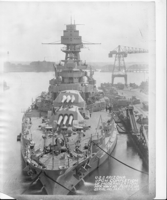 USS Arizona, Upon Completion of Modernization, Norfolk Navy Yard Ports, Virginia Serial No. 143-31