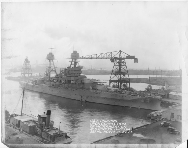 USS Arizona, Upon Completion of Modernization, Norfolk Navy Yard Ports, Virginia, Serial No. 140-31