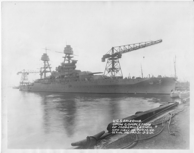 USS Arizona, Upon Completion of Modernization, Norfolk Navy Yard Ports, Virginia, Serial No. 141-31