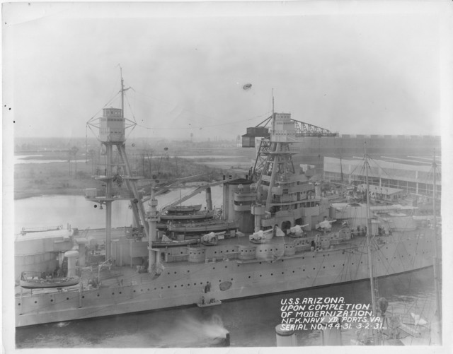 USS Arizona, Upon Completion of Modernization, Norfolk  Navy Yard Ports, Virginia Serial No. 144-31