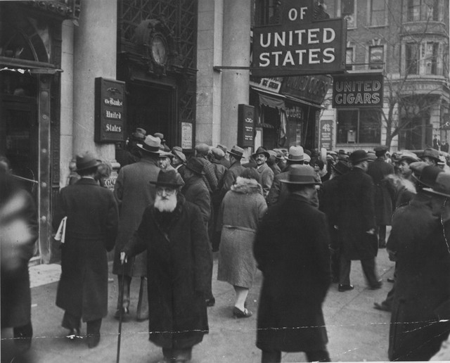 Photographs of a Crowd Gathering in Front of the Doors of the Bank of the United States on Freeman Street in New York City