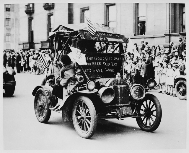 An Automobile Decked Out with Signs and Banners Supporting the Repeal of the 18th Amendment