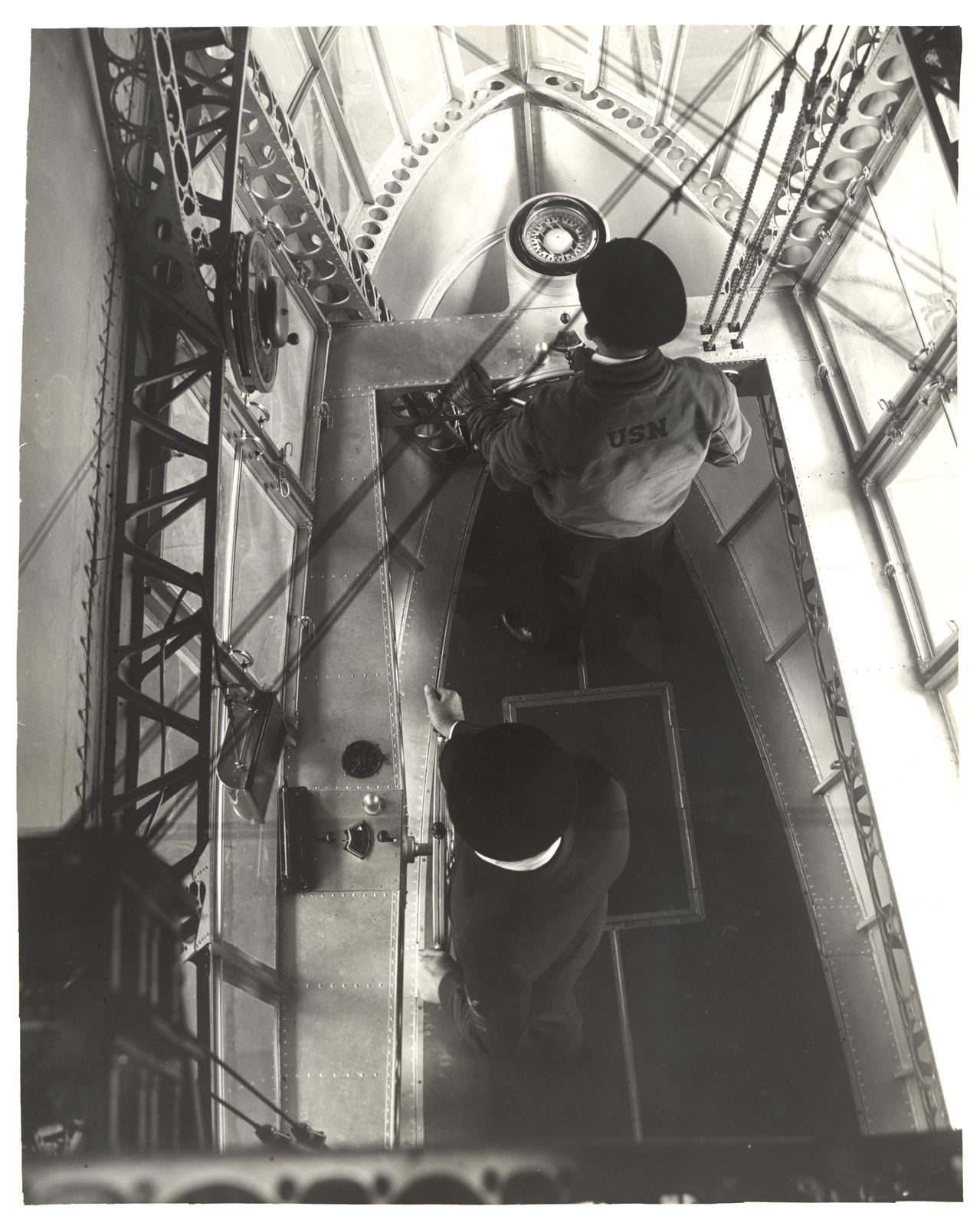Photograph Looking Down in Emergency Control Station of a Dirigible