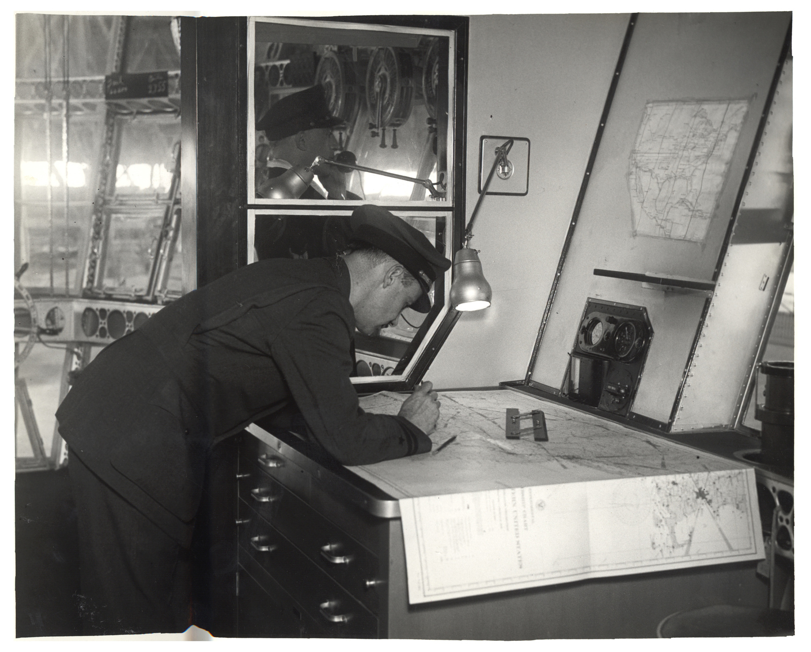 Photograph of Navigation Room in a Dirigible