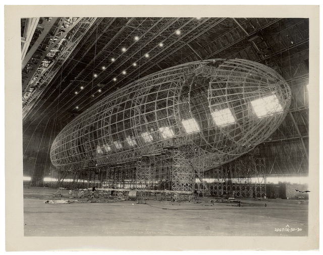 Photograph of the Nose of the USS Akron being Attached
