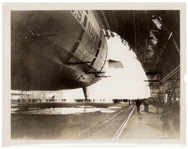 Photograph of the USS Akron in the Goodyear-Zeppelin Dock