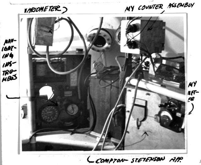 Luis Alvarez' cosmic ray telescope setup showing instruments inside gondola with labels. Mexico City, April, 1933. From Alvarez' personal file. Morgue 1946-8 (P-5); ZN 3277 [Photographer: Donald Cooksey]