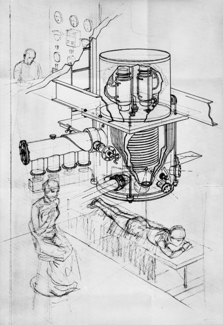 Artists conceptual drawing of David Sloan x-ray tube, 1934 [Photographer: Donald Cooksey]