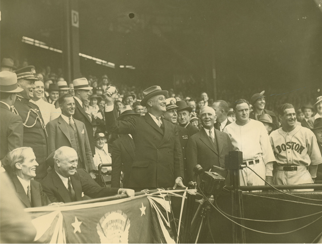 President Franklin D. Roosevelt Throwing a Baseball at Griffith Stadium, Washington, DC