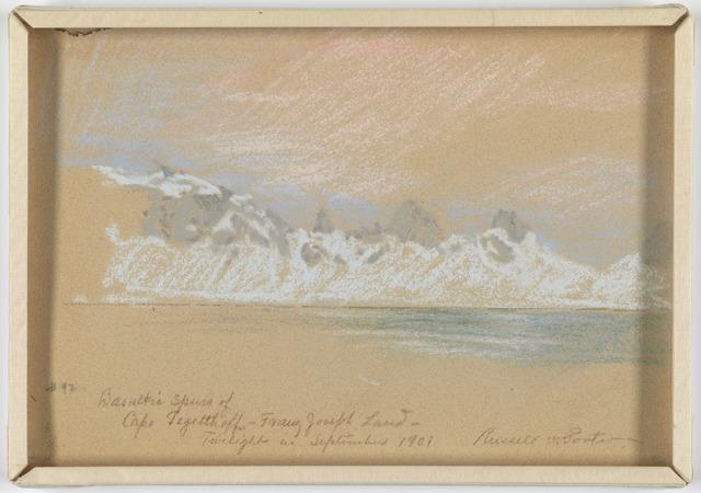 Basaltic Spires of Cape Tagatthoff - Franz Josef Land. Twilight in September 1901