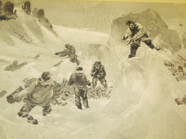 Painting of Men Packing Food into Ice
