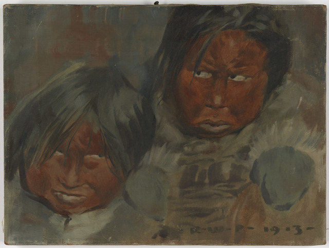 Painting of Two Children Clothed in Fur