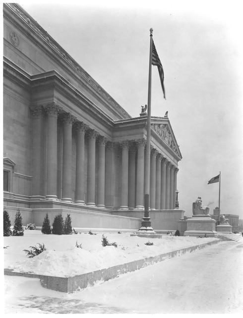 Photograph of the National Archives Building Constitution Avenue Entrance in the Snow