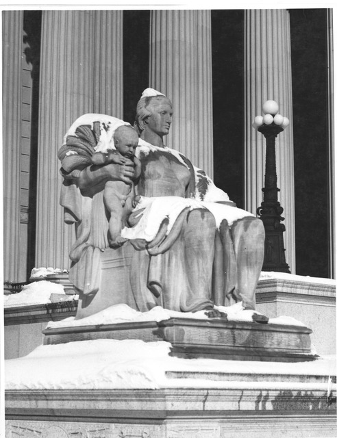 Photograph of the Female Statue, Heritage of the Past, Located near the Constitution Avenue Entrance to the National Archives Building