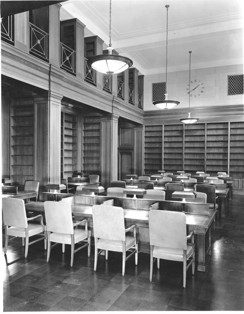 Photograph of the West Search Room with Empty Library Shelves