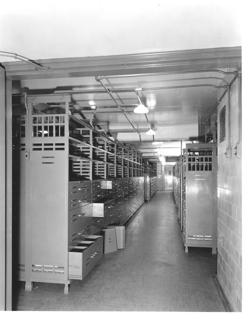 Photograph of the National Archives Stack Area Showing Trays Open