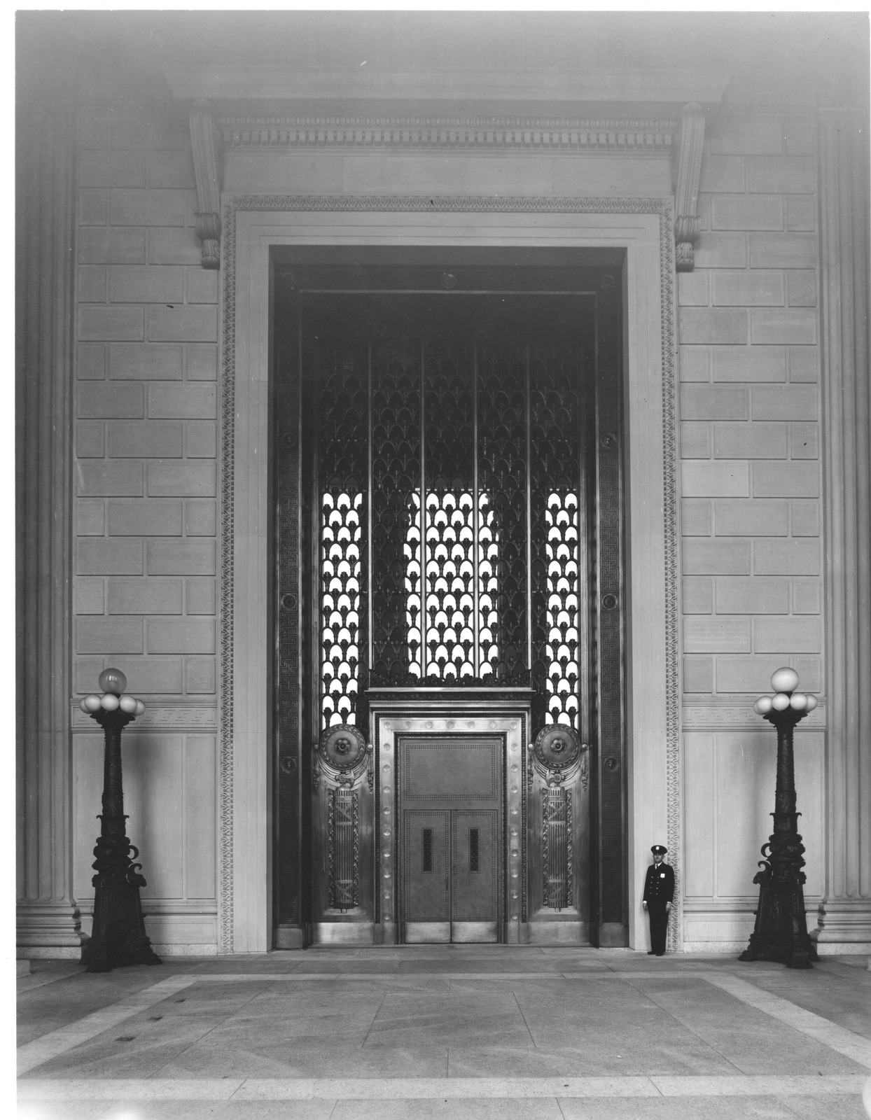 Photograph of the National Archives Building Constitution Avenue Entrance with Bronze Doors Open