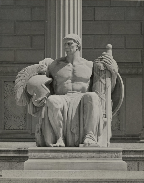 Photograph of the Male Statue Guardianship, Located near the Constitution Avenue Entrance to the National Archives Building