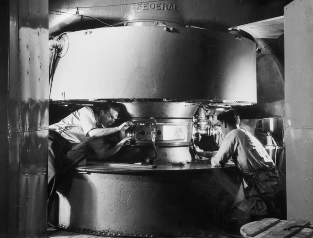 37-inch cyclotron tank #4, Franz N.D. Kurie, and Dean Cowie, taken 1937. Principal Investigator/Project: Analog Conversion Project