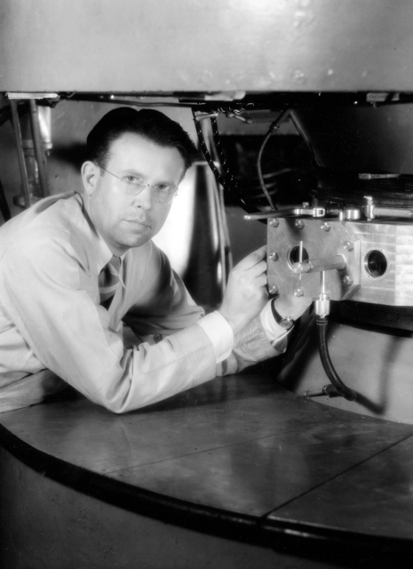 Ernest Orlando Lawrence with the 37-inch cyclotron, taken in 1937. Principal Investigator/Project: Analog Conversion Project