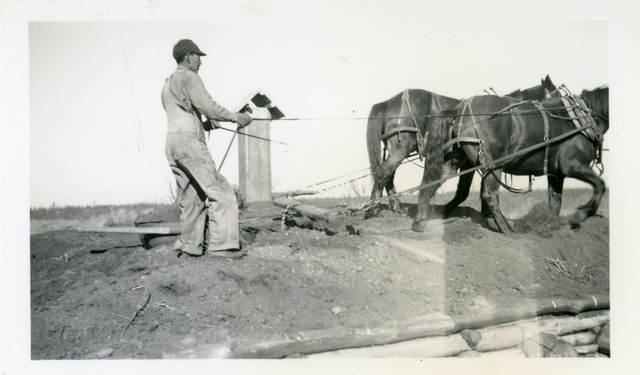 Man Covering the Roof of Root Cellar