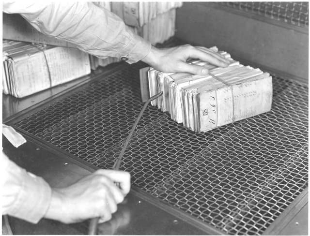 Photograph of the Dusting Table in the Division of Repair and Preservation at the National Archives