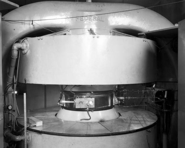 37-inch cyclotron, deuteron beam out, taken August 1937. See also XBD9703-00006 cyclotron shown without beam. Principal Investigator/Project: Analog Conversion Project