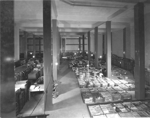 Photograph of Food Administration Records Temporarily Being Stored in Tiers 16-18 in the National Archives Building
