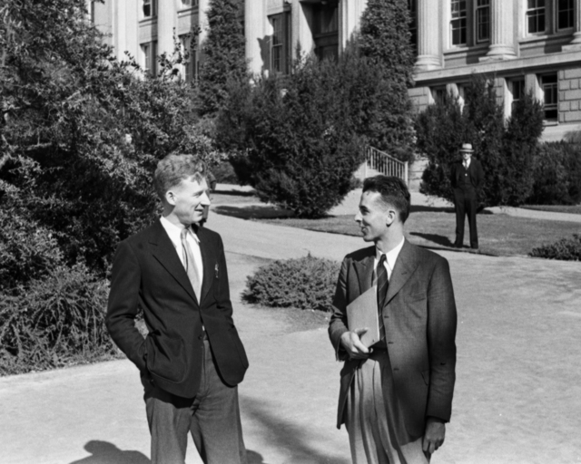 Arthur H. Snell and Wilfred Mann in conversation on the U.C. Berkeley campus. Cooksey  20-26, November 1, 1937. [Photographer: Donald Cooksey]