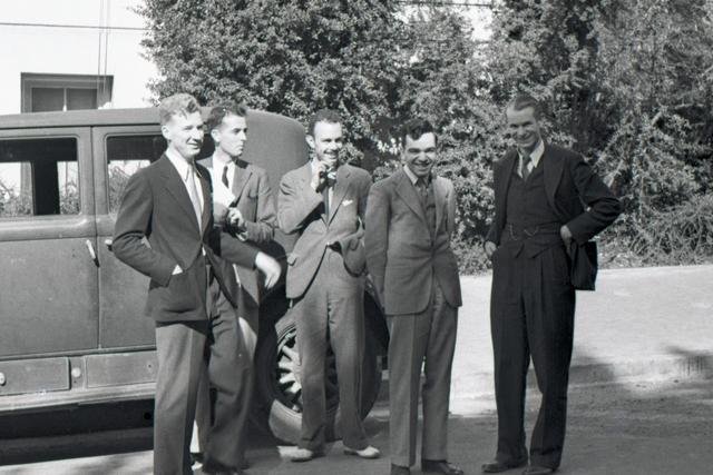 Arthur Snell, Wilfred Mann, Franz N.D.Kurie, Martin Kamen, and Edwin McMillan. Cooksey  20-30, November 1, 1937. [Photographer: Donald Cooksey]