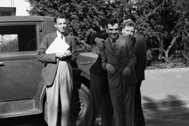 Wilfred Mann, Martin Kamen, Arthur H. Snell,  and Franz Kurie. Cooksey  20-27, November 1, 1937. [Photographer: Donald Cooksey]